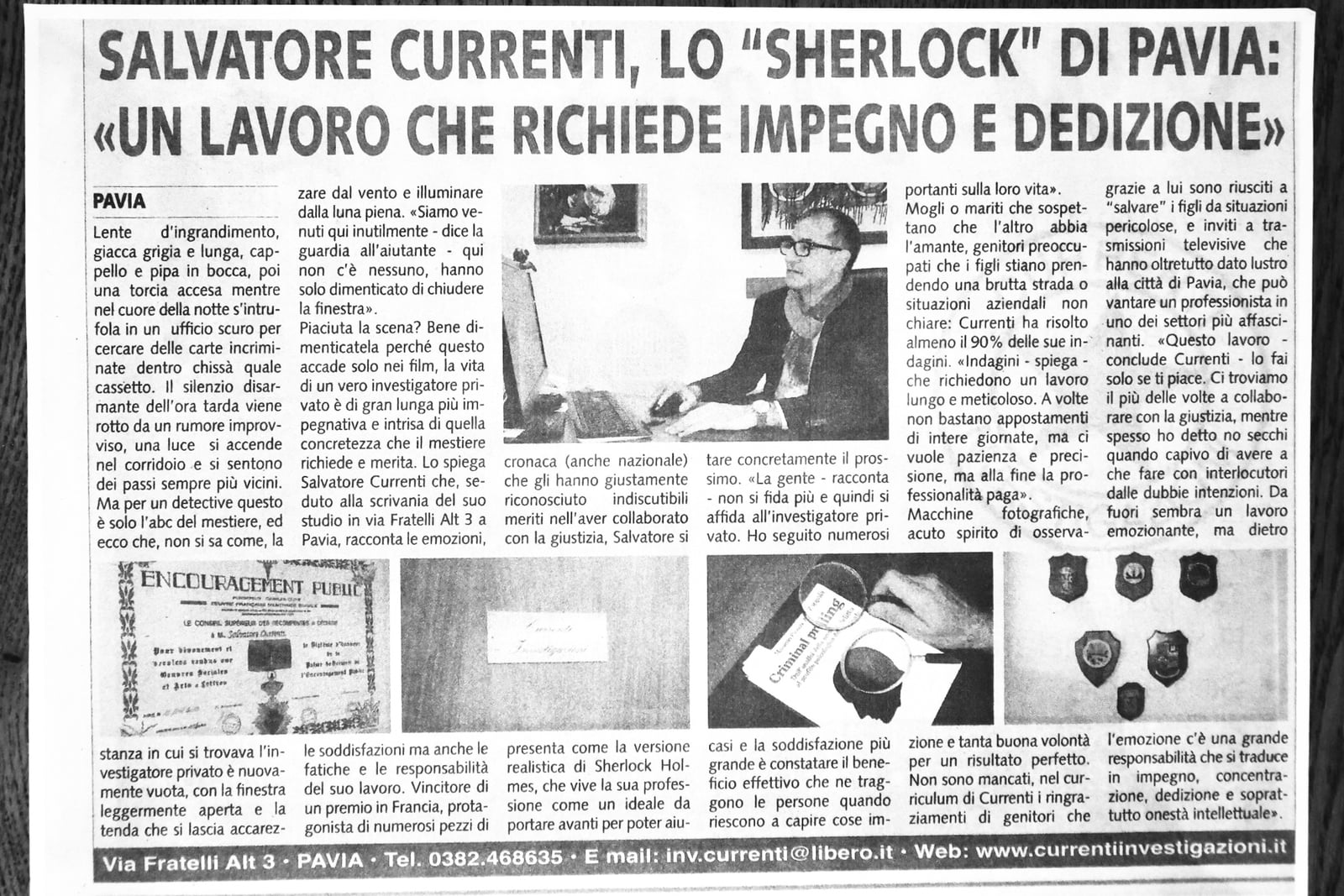 Articolo di giornale su Currenti Investigazioni Pavia foto 1