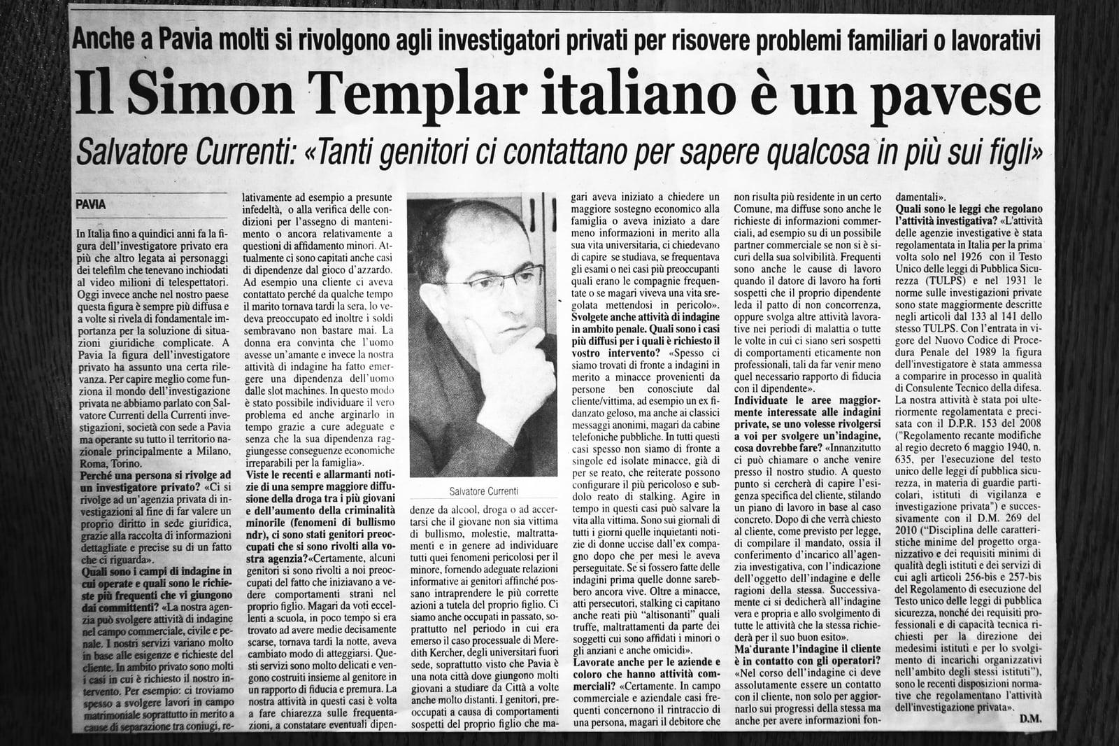 Articolo di giornale su Currenti Investigazioni Pavia foto 7
