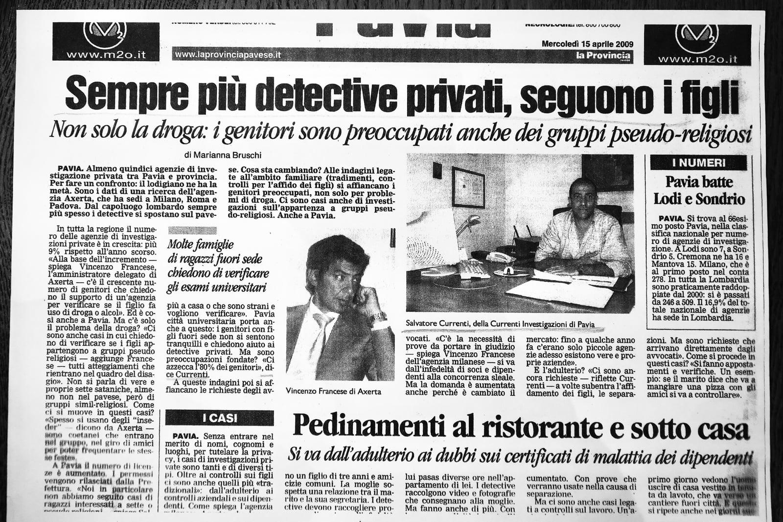 Articolo di giornale su Currenti Investigazioni Pavia foto 6
