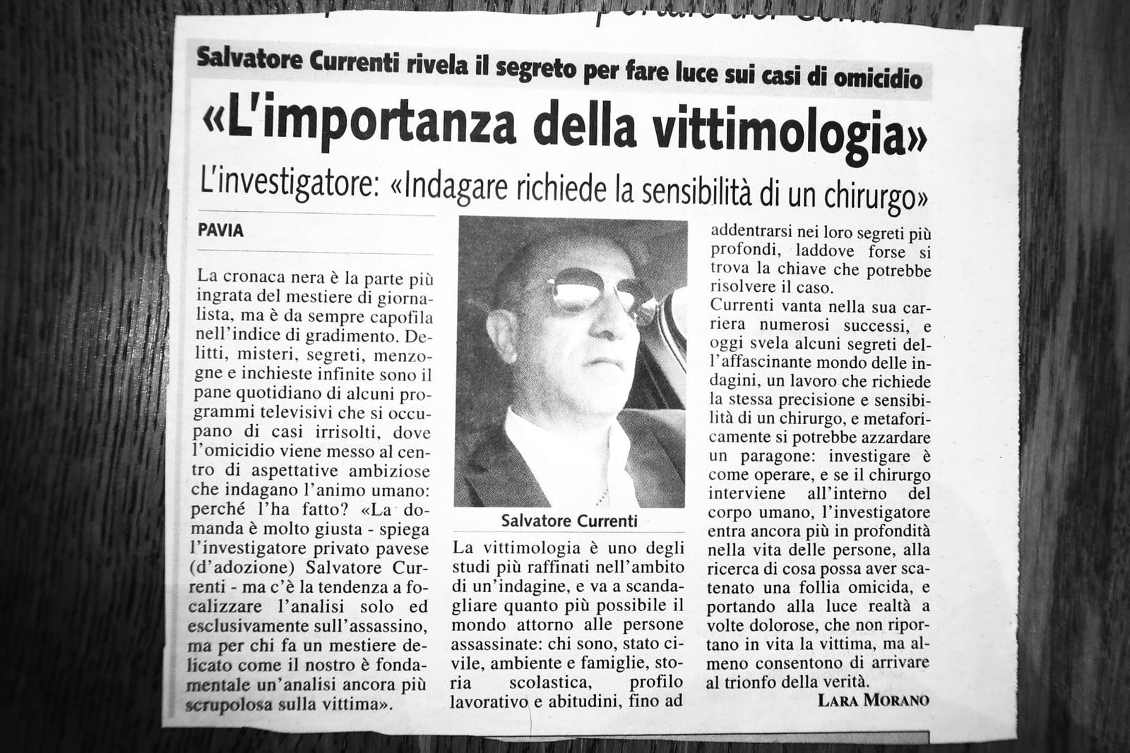 Articolo di giornale su Currenti Investigazioni Pavia foto 5